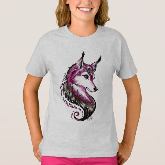 Beautiful Hand Drawn Wolf Art Girl's T-shirt