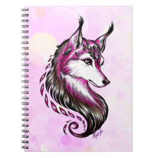 Beautiful Hand Drawn Wolf Art School Notebook
