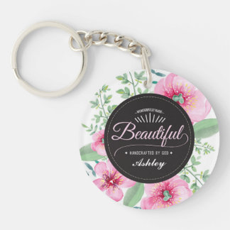 Beautiful Handcrafted by God Keychain