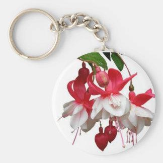 Beautiful hanging fuchsia plant basic round button key ring