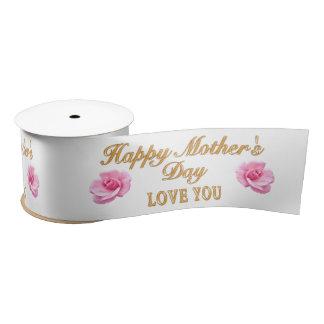 Beautiful Happy Mother's Day Ribbon Love You Roses Satin Ribbon