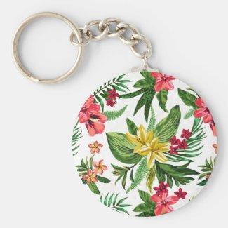 Beautiful Hawaiian Flowers Basic Round Button Key Ring