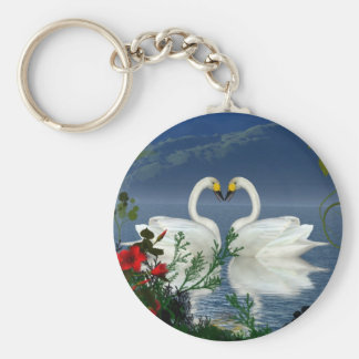 Beautiful heart swans red flowers 1 key chains