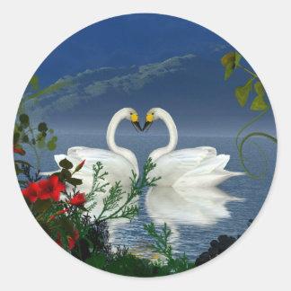 Beautiful heart swans red flowers 1 round sticker