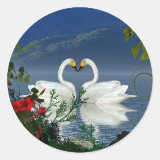 Beautiful heart swans red flowers 1 sticker