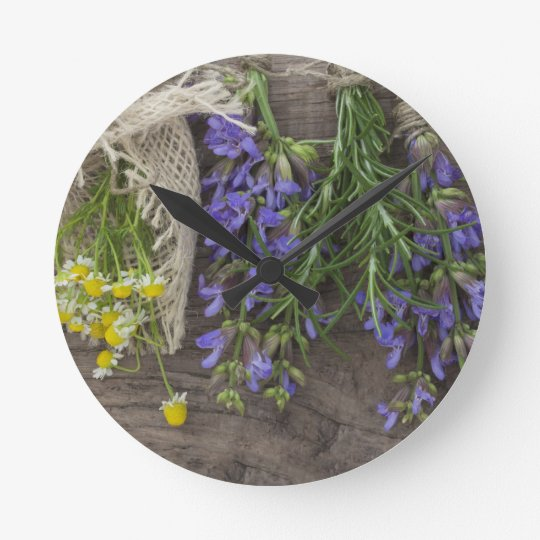 beautiful herbal background round clock