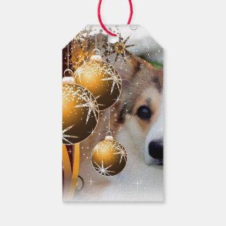 Beautiful Holiday Corgi with Bulbs Gift Tags