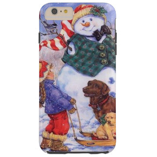 Beautiful Holiday Custom Christmas Snowman Tough iPhone 6 Plus Case
