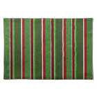 Beautiful Holiday Red and Green Stripe Pattern Placemat