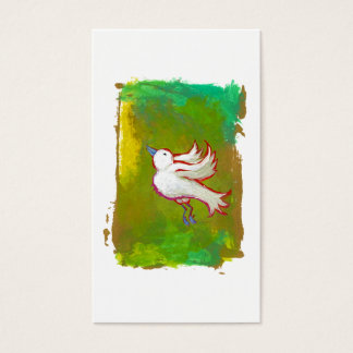 Beautiful hopeful inspirational white bird fun art business card