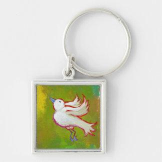 Beautiful hopeful inspirational white bird fun art key chain