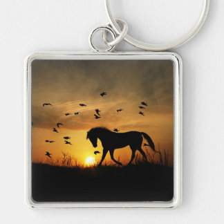 Beautiful Horse Art Key Ring Silver-Colored Square Key Ring