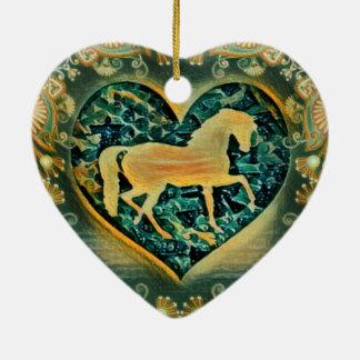 Beautiful Horse Ceramic Heart Decoration
