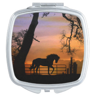 Beautiful Horse Compact Travel Mirror
