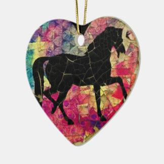 Beautiful Horse on Peeling Paint Ceramic Heart Decoration