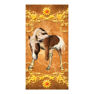 Beautiful  horse with decorative floral elements personalized photo card