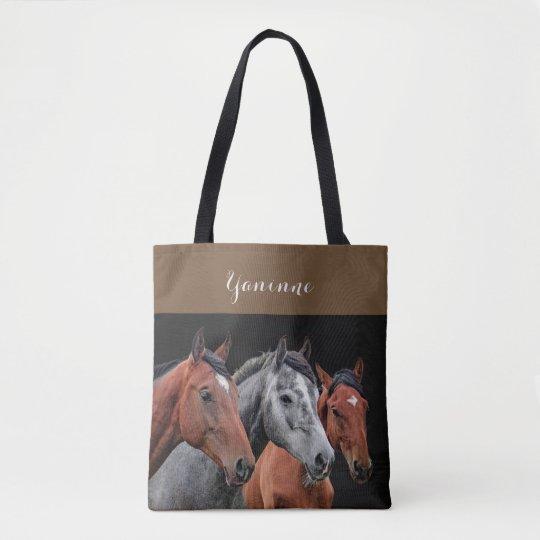 BEAUTIFUL HORSES PORTRAIT. HORSE FACE CLOSEUP TOTE BAG