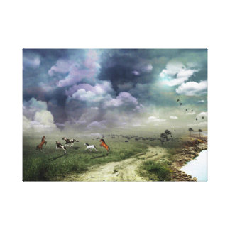 Beautiful horses river nature fantasy illustration stretched canvas print
