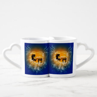 Beautiful horses with a heart made of water lovers mugs
