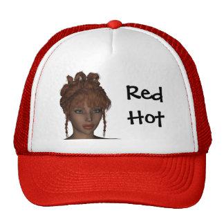 Beautiful Hot 3D Redhead Woman Model Digital Art Cap