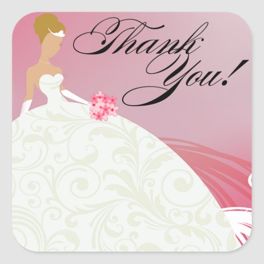 Beautiful Hot Pink and White Luxe Thank You Square Sticker