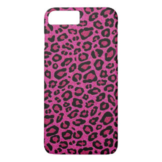 Beautiful hot pink leopard skin glitter shine iPhone 7 plus case