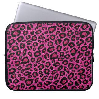 Beautiful hot pink leopard skin glitter shine laptop sleeve