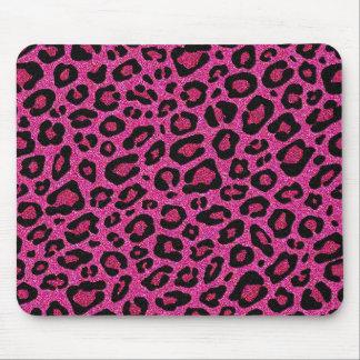 Beautiful hot pink leopard skin glitter shine mouse mat