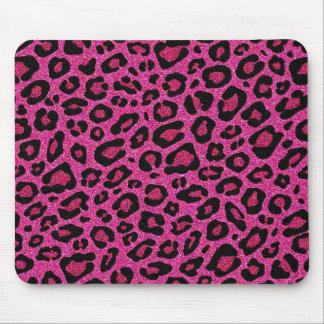 Beautiful hot pink leopard skin glitter shine mouse pads