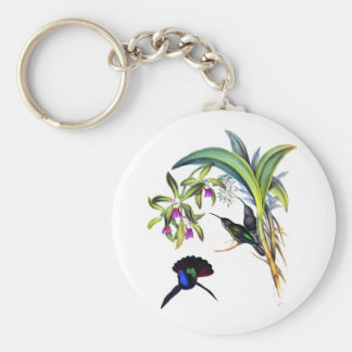 Beautiful Hummingbirds and Purple Orchids Key Ring
