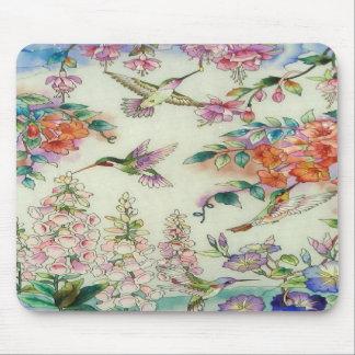 Beautiful Hummingbirds Flowers Stained Glass Art Mousepad