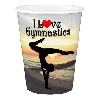 BEAUTIFUL I LOVE GYMNASTICS PAPER CUPS