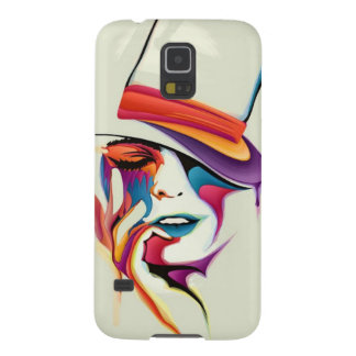 beautiful image of the woman's face with a hat art galaxy s5 cases