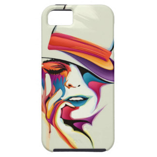 beautiful image of the woman's face with a hat art iPhone 5 cover