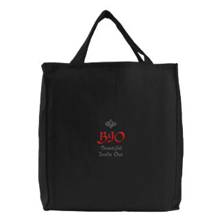 Beautiful Inside Out BIO In Black Embroidered Tote Bag