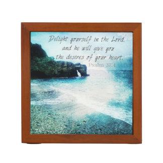Beautiful, Inspirational Bible Verse Psalm 37:4 Desk Organiser