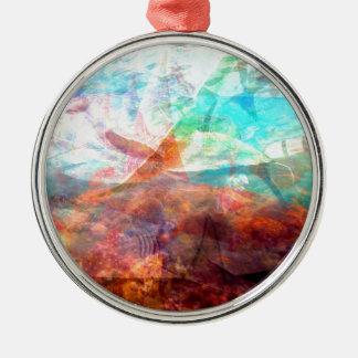 Beautiful Inspiring Underwater Scene Art Silver-Colored Round Decoration