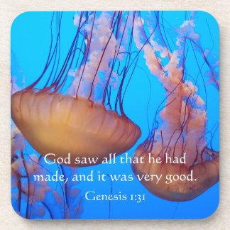 Beautiful Jellyfish Bible Verse Coasters