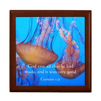 Beautiful Jellyfish Bible Verse Jewelry Box