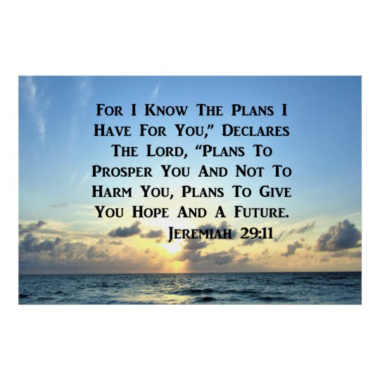 BEAUTIFUL JEREMIAH 29:11 SCRIPTURE VERSE POSTER