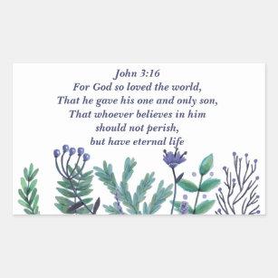 Beautiful John 3:16 For God So Loved the World Rectangular Sticker