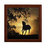 Beautiful Keepsake Horse Wooden Box and Tile Large Square Gift Box