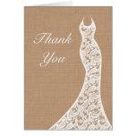 Beautiful Lace & Burlap Thank You Card