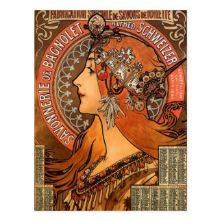 Beautiful ladies profile - Mucha Postcard