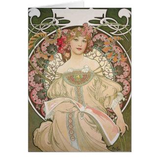 Beautiful lady - Mucha Card