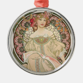 Beautiful lady - Mucha Christmas Ornament
