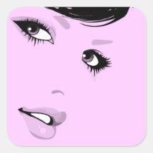 Beautiful Lady Square Stickers