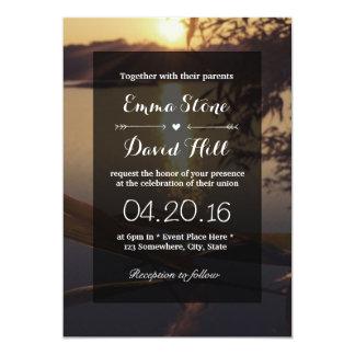 Beautiful Lake Sunset Wedding Invitations