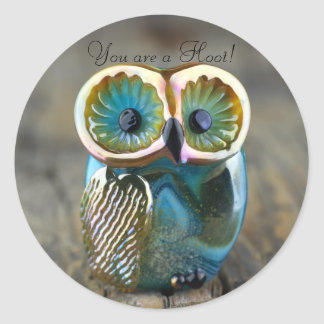 Beautiful lampwork owl bead classic round sticker