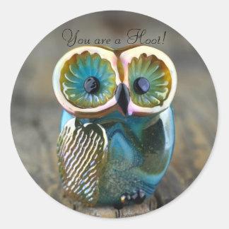 Beautiful lampwork owl bead round sticker